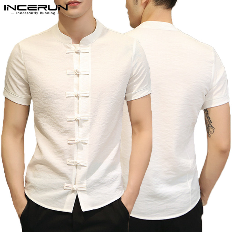 Incerun 2019 Chinese Style Vintage Shirt Men Half Sleeve Button Streetwear Solid Tops Men Casual Shirts Camisa Masculina S-5xl Shirts