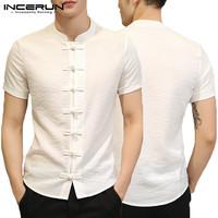 2019 Fashion Man Clothing Plain Shirts Mens Dress Chinese Dress Short Sleeve Slim Fit Button Down Camisa Chemise Summer Tee Tops