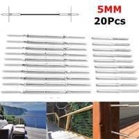 20Pcs/Set For 5mm Cable Silver Balustrade Cable Fixing Kit Screw Rope Balustrade Kit Stainless Steel Lag Screw Swage Terminal