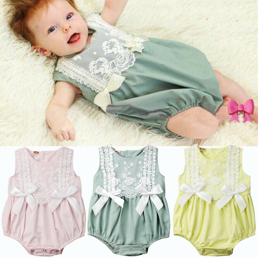 Cute Toddler Baby Girl Summer Lace Floral Baby   Rompers   Sleeve Jumpsuit Sunsuit Clothes Yellow Pink Green