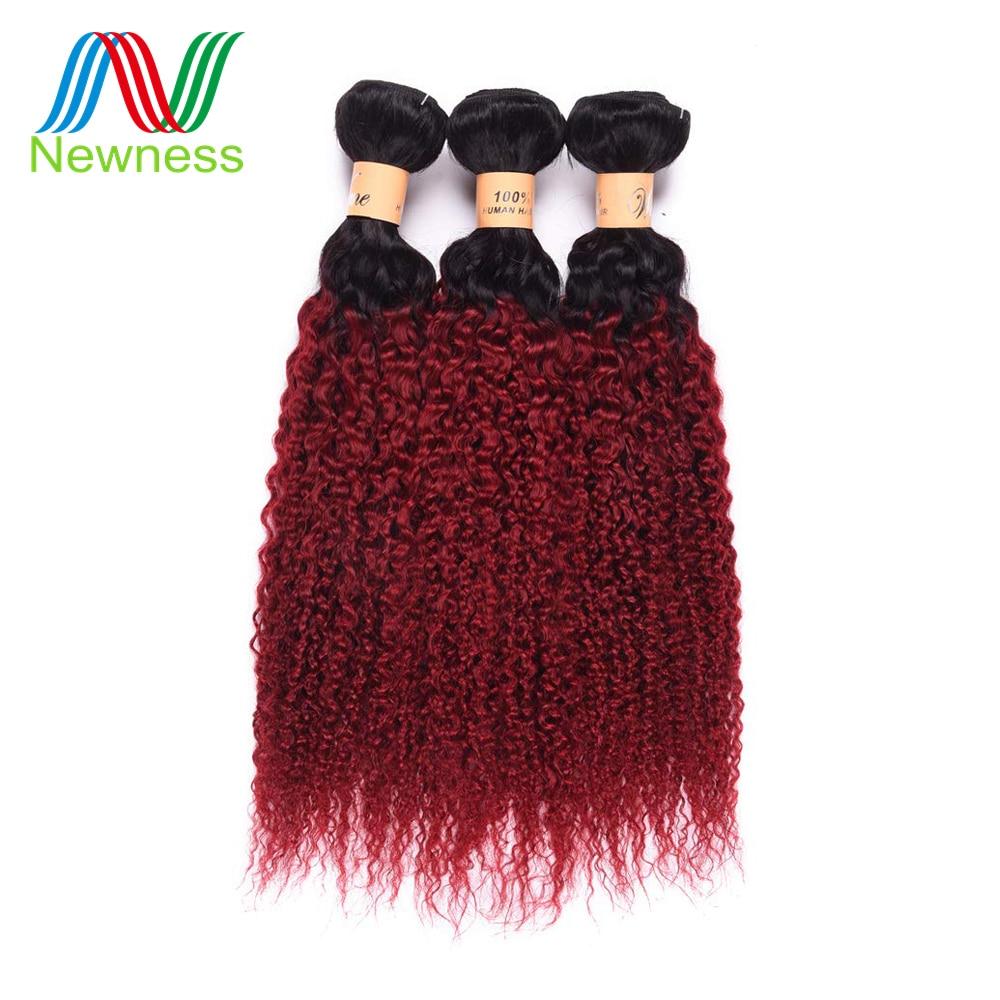Newness Pre-colored Ombre T1b/bug Color Curly Hair Bundles 1/3/4 Bundles Brazilian Human Hair Weave Non-remy Hair Extensions Hair Extensions & Wigs Hair Weaves