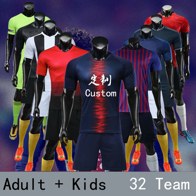 Sportswear 18/19 Boys Kids Football Team Outfit Soccer Kit Jerseys Short Sleeve Shirt Socks