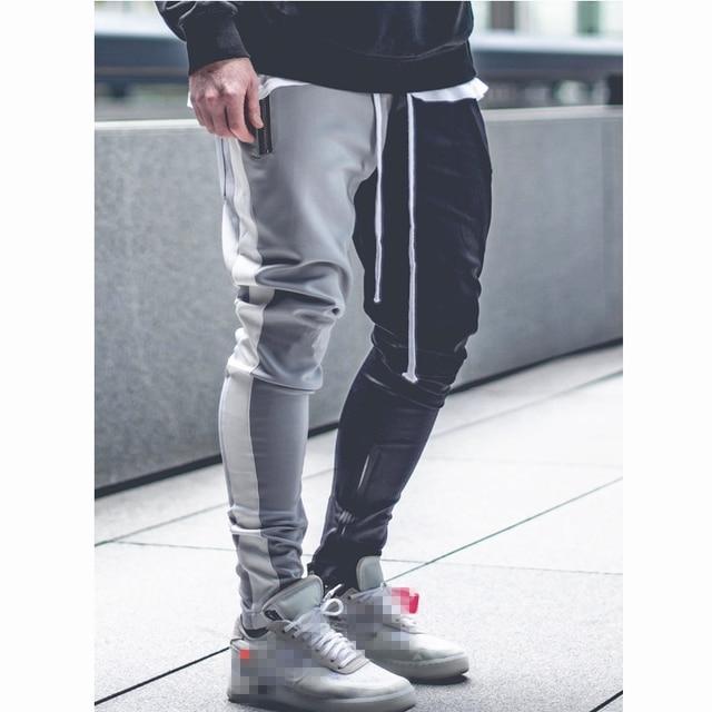 Mens Vogue Patchwork Contrast Color Hip Pop Joggers Pants Male Slim Sportswear Streetwear Pencil Harem Pants Trousers Slacks 5