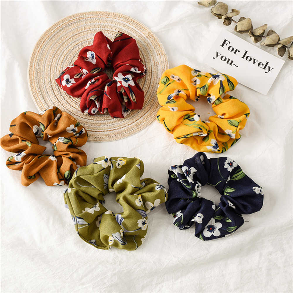 Spring New Flower Hair Scrunchie Ponytail Holder Hair Ties Rope Elastic Hair Bands for Girls Accessories