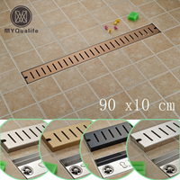 90cm Linear Long Shower Grate Bathroom Channel Tile Drains Bathroom Floor Drain Stainless Steel