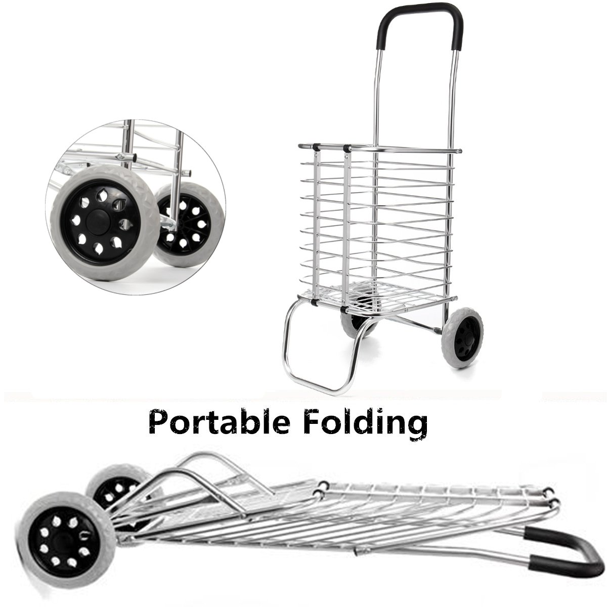 2 Wheel Aluminum Folding Portable Shopping Market Grocery Basket Cart Trolley Quality Aluminum Frame Bold