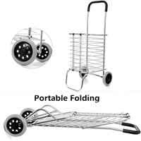 2 Wheel Aluminum Folding Portable Shopping Market Grocery Basket Cart Trolley Quality Aluminum Frame Bold