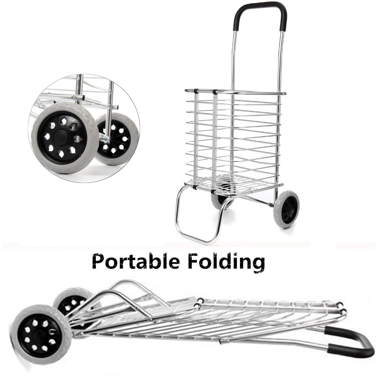 2 roues en aluminium pliant Portable Shopping marché panier d'épicerie chariot qualité cadre en aluminium gras