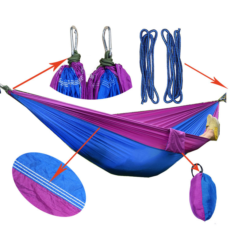 Two-person Camping Hammock Chair Set Wrinkled Nylon 270*140cm Outdoor Furniture Leisure Sleeping Hamaca Travel Double HammockTwo-person Camping Hammock Chair Set Wrinkled Nylon 270*140cm Outdoor Furniture Leisure Sleeping Hamaca Travel Double Hammock
