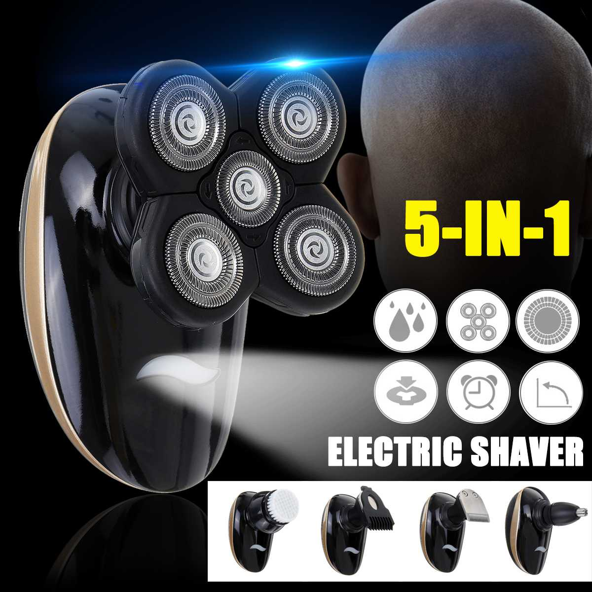 5 In1 4D Floating Blade Head Rechargeable Men Electric Bald Head Shaver Beard Trimmer Razors Nose Hair Cutter Wet/Dry Washable