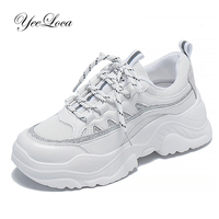 2019 Sneakers Women Height Increase Shoes White Casual Shoes Woman Comfort Breathable PU+Mesh Female Fashion Chunky Trainers