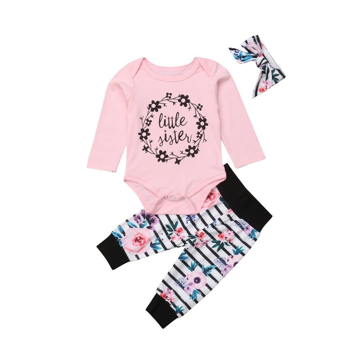 Imparato Outfit Uguali Per La Famiglia Capretti Appena Nati Del Bambino Piccolo/grande Sorella Fiore Pagliaccetto T-shirt Pantaloni Outfits 3 Pz Disabilità Strutturali