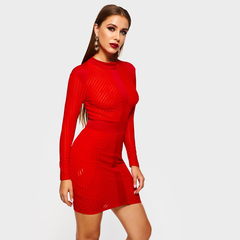 Mini Dress Women Solid Red Patchwork Mesh See Through Sexy