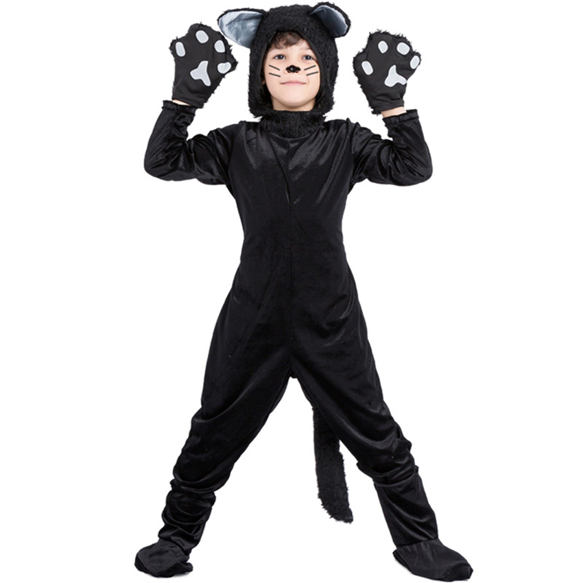 Halloween Costume for Kids Boy Animal Cosplay Girls Cat Uniform Masquerade Stage Performance Hooded Jumpsuit Children Party Wear