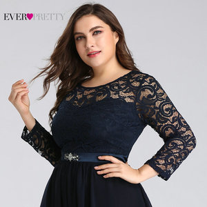 Image 5 - Plus Size Mother of the Bride Dresses Ever Pretty 7716 Elegant Long Sleeve Lace A line Crystal Sashes 2020 Evening Party Gowns