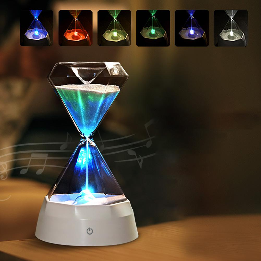 7 Colors Colorful LED USB Diamond Hourglass Tactile Night Light With Music Silicone Tabletop Decorations Valentines Day Gift