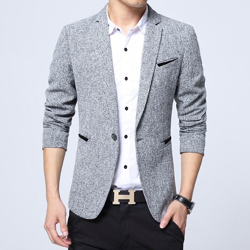 2019 New Spring Autumn Thin Casual Men Blazer Cotton Slim England Suit Blaser Masculino Male Jacket Blazer Men SizeM-5XL