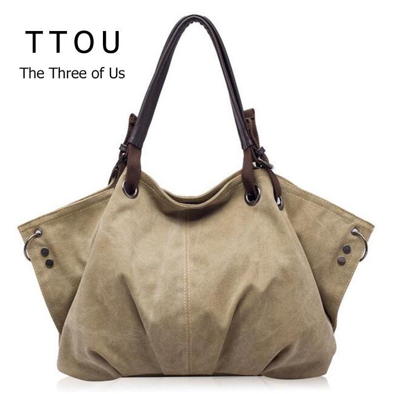 Las mujeres de moda bolsos de lona Retro de gran capacidad mujer bolsos de hombro elegante Casual Crossbody bolsas clásico sólido bolsas TTOU