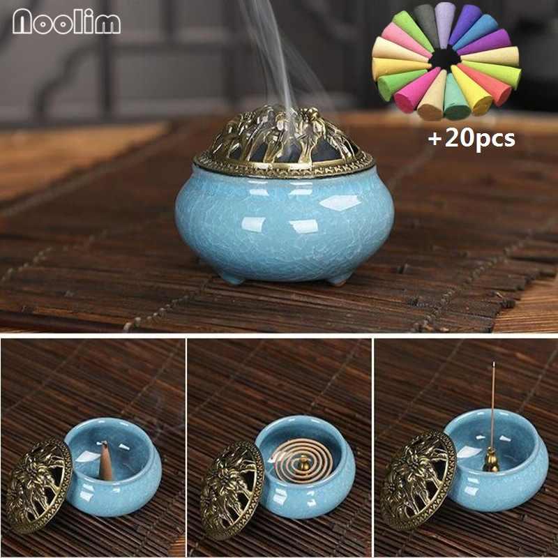 NOOLIM Ceramic Incense Burners Portable Porcelain Censer Buddhism Incense Holder Home Tea house Yoga Studio 20pcs Incense Gift