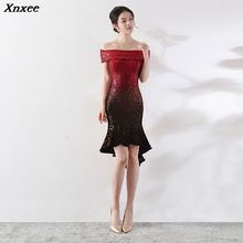 Xnxee Sexy Slash Neck Luxury Red Gradient Black Sequined  Elegant Mermaid Knee Length Women Club Evening Party Dress