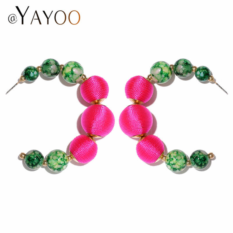 Big Christmas Earrings For Women Ethnic Fashion Statement Dangling Beaded Earrings Hanging Brincos 2019 Za Earring Female