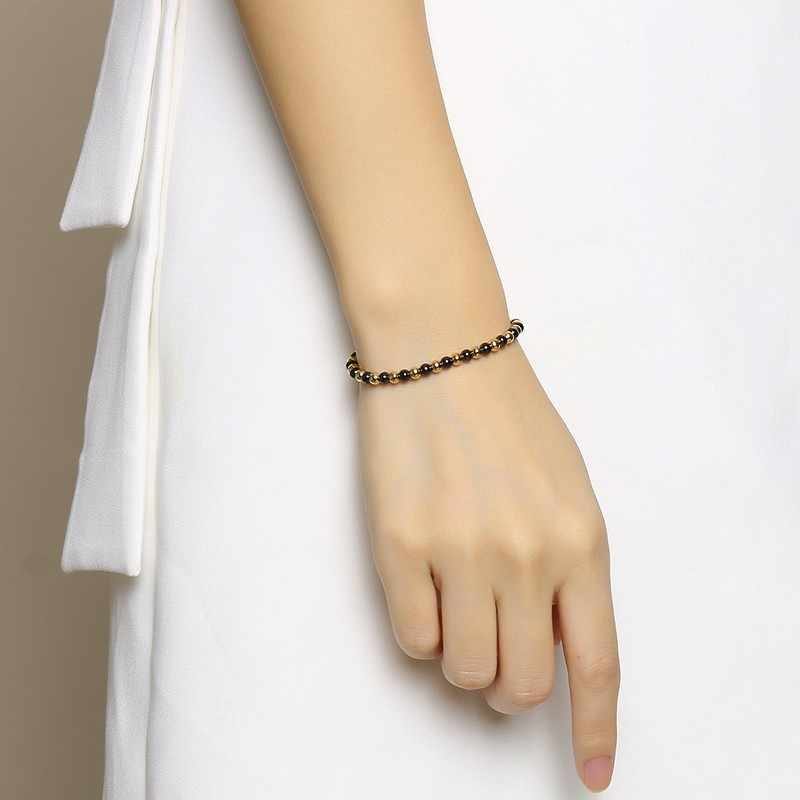 Vnox 4mm Thin Beads Bracelets for Women Men Adjustable Length Rope Chain Stainless Steel Beads Pulseira