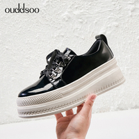 Spring Autumn Women Genuine Leather Derbies Woman Flat Black Brogue For Women Flat Shoes Size 34 Ladies Casual Zapatos De Mujer