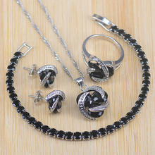 Big Sale Jewelry Sets For Women Party Jewelry Gifts 925 Sterling Silver Black CZ Necklace/Pendants/ Earring/Bracelets/Ring Sets(China)