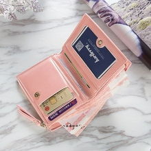 Ladies Short Zipper Wallet Two Fold Buckle Cross Section Wallet European And American Style Patent Leather Cute Small Purse dudini fashion casual style ladies wallet solid color lichee pattern women wallets 3 fold pu leather short section small wallet