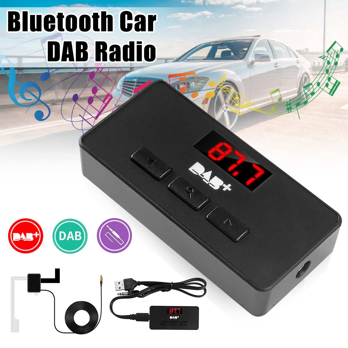 buy dab digital radio receiver fm tuner radio car bluetooth 3 5 transmitter. Black Bedroom Furniture Sets. Home Design Ideas