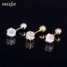 Alargador De Orelha 1pcs Fashion Tragus Barbell Earring Mixed Square Ear Cartilage Piercing Stud Gem Sexy Women Jewelry(China)