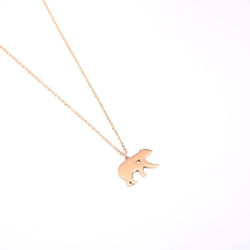 Stainless Steel Animal Bear Pendant Necklace Silver Gold Rose Gold Mama Bear Heart Necklaces Jewelry For Women Natural in Chain Necklaces from Jewelry Accessories