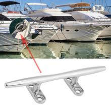 High Quality Silver 6″ Stainless Steel Marine Boat Dock Deck Rope Cleat Hollow Base Bollard Easy to Install