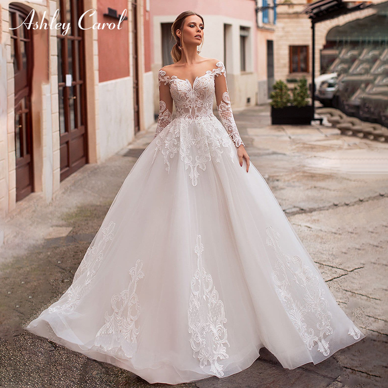 Ashley Carol Illusion Wedding Dress Custom Sexy V-neck Long Sleeve Backless A-Line Bride Dresses Vestido De Noiva Wedding Gowns