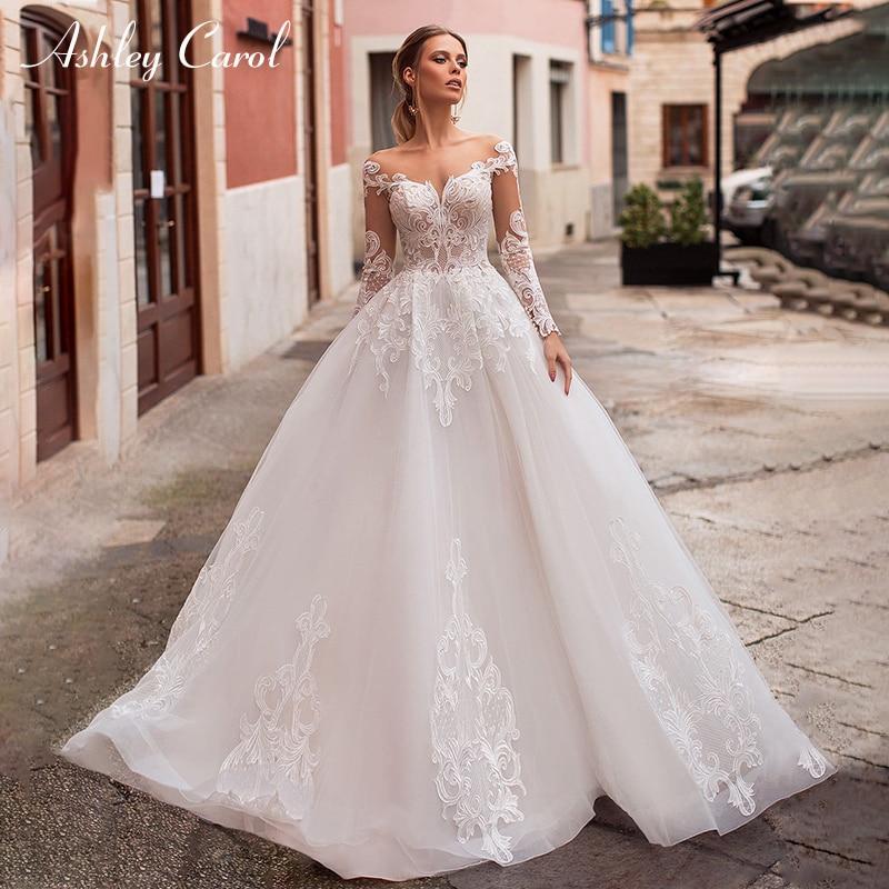 Платье для свадебных церемоний с v-образным вырезом и длинными рукавами, а-силуэт с открытой спиной, Vestido De Noiva