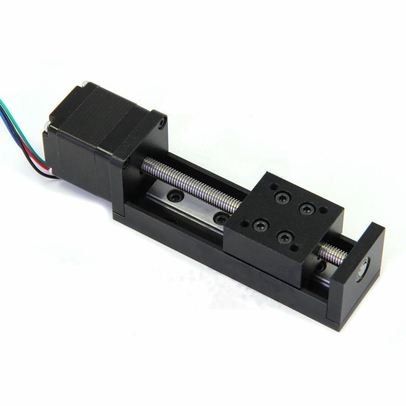 CNC MIni Linear Guide Rail Slide Actuator T6 Lead Screw Motion Stepper Motor Stroke 50-200MM