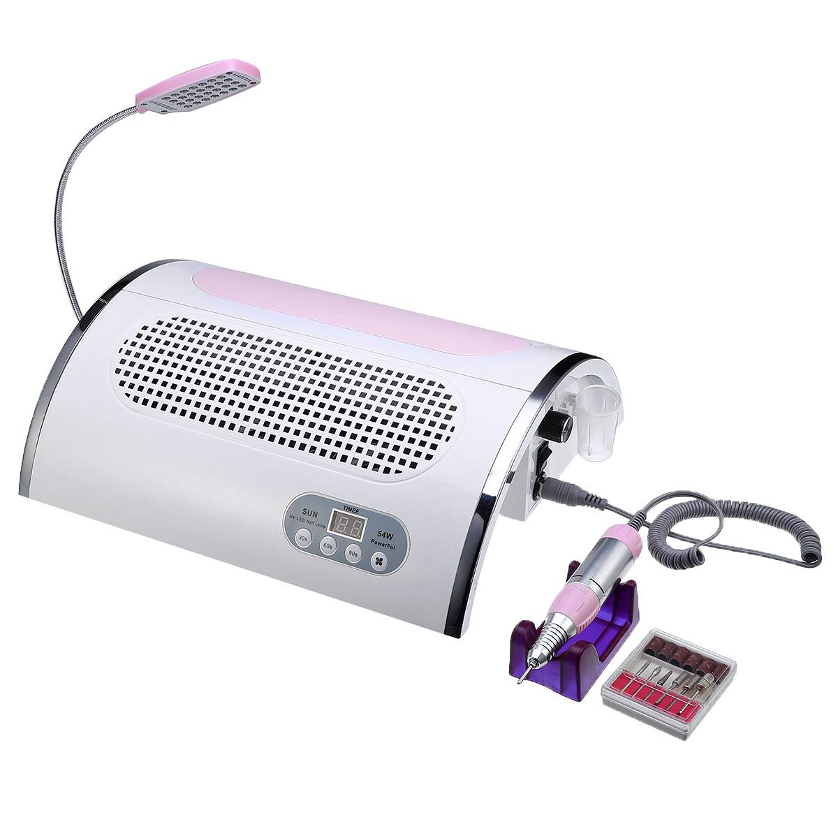 Professional UV LED Vacuum Cleaner Lamp For Nails 54W Nail Dryer Nail Dust Collector With Nails Drill Polisher Salon MachineProfessional UV LED Vacuum Cleaner Lamp For Nails 54W Nail Dryer Nail Dust Collector With Nails Drill Polisher Salon Machine