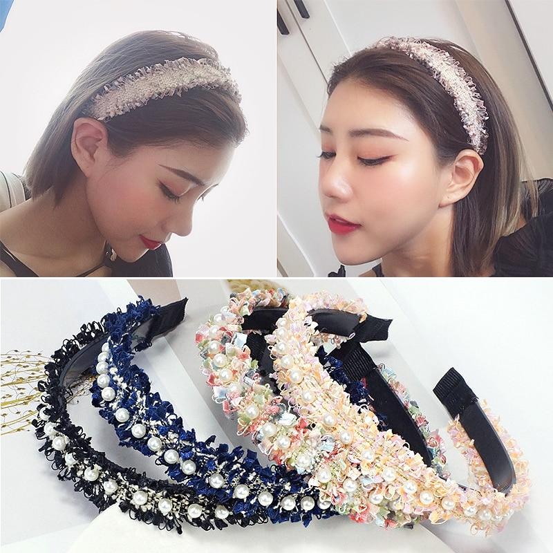 Hairband For Women Hair Hoop Headband Pearls Hair Accessories Turban Wide Lace 17 Colors Female Girls Handmade Tassel 1PC