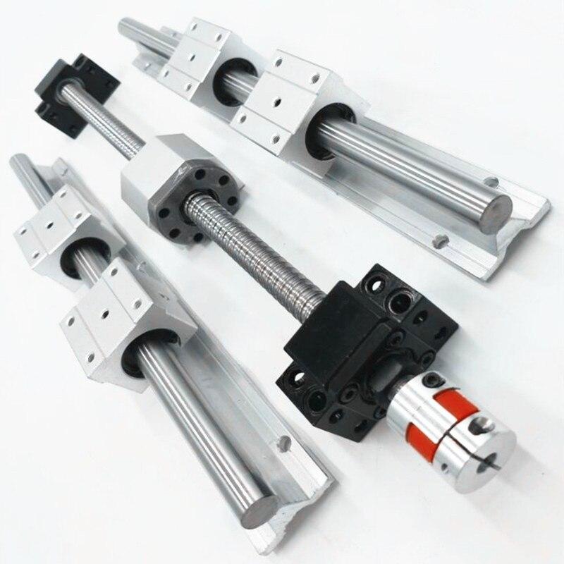 2sets SBR20 20mm linear rail guide any length 4pc SBR20UU linear bearing cnc router ballscrew RM1605