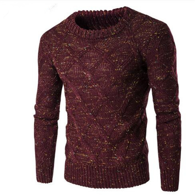 Sweater Men  Brand Thickening Pullover Sweater Male O-Neck Color Dot Slim Fit Knitting Mens Sweaters Man Pullover Men XXL