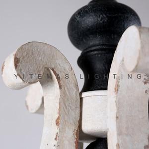 Image 2 - Farmhouse vintage białe drewno żyrandol oprawa oświetleniowa małe antyczne wiszące francuski żyrandol światło do jadalni 1 światło