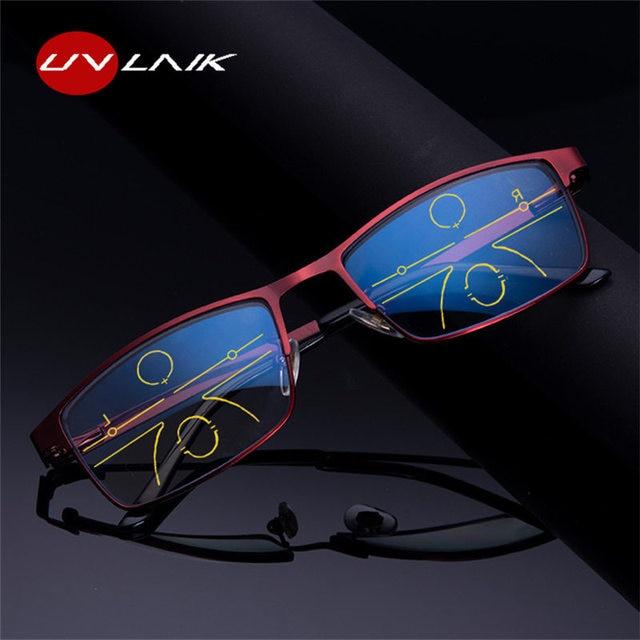 UVLAIK progressive multi focus reading glasses for men women anti blue light eyeglasses alloy anti-radiation presbyopic glasses