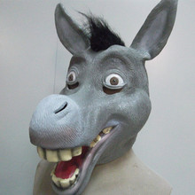 Hot Selling Rubber Animal Latex Shrek Donkey Mask Adult Full Head Celebration Halloween Party Realistic