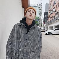 2018 Hong Kong Style Retro Spring And Autumn New Men's Wild Loose Casual Loose Lattice Square Collar Shirt Coat Gray M XL