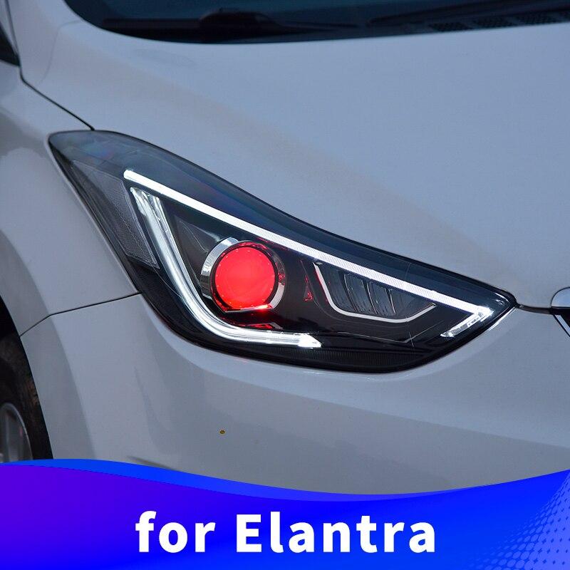 Headlight Assembly For Hyundai Elantra 2012 2013 2014 2015 2016 LED Daytime Running Light LED Turn Signal LED High Beam