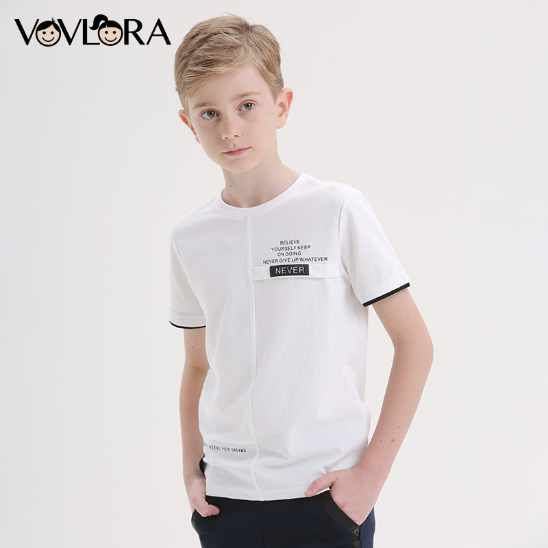 White Kids T-shirts 2018 Summer Boys T Shirts Sports Casual Children Clothes Cotton Printed Tees Size 7 8 9 10 11 12 13 14 Years цена и фото