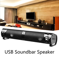 Adjustable Knob USB Desktop Speaker Stereo Audio Soundbar Computer PC Laptop for Bar Home (Can be divided into two speakers)