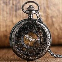 Retro Black Gear Wheel Design Half Hunter Mechanical Pocket Watch Roman Numerals Display Hand Winding Clock for Men Women reloj