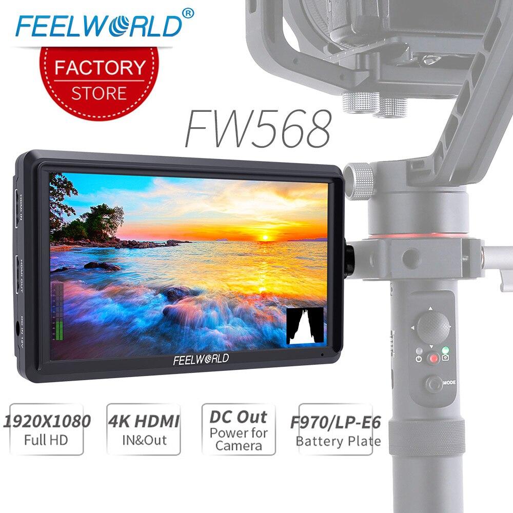 Feelworld FW568 5,5 дюймов 4 к HDMI DSLR на камере полевой монитор маленький HD Full 1920x1080 lcd ips видео фокус помощь для DSLR камеры