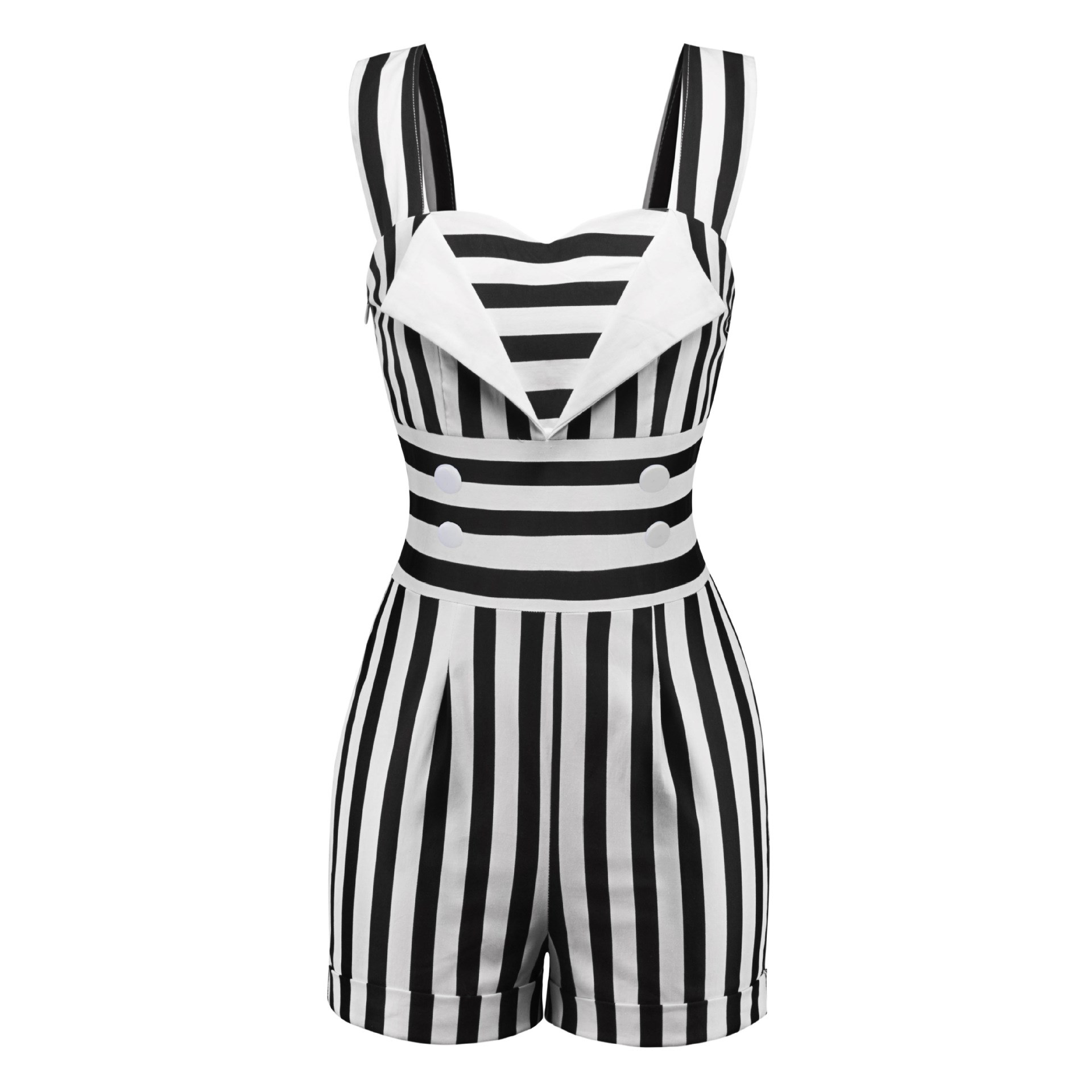Stripes Retro Fashion Striped Sleeveless Romper Vintage Straps Button Jumpsuit Cotton 2019 Overalls Summer 6BT7nq7W